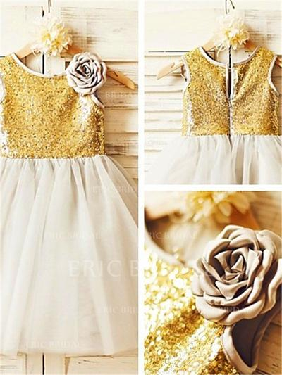 A-Line/Princess Scoop Neck Tea-length With Flower(s) Tulle/Sequined Flower Girl Dresses (010212007)