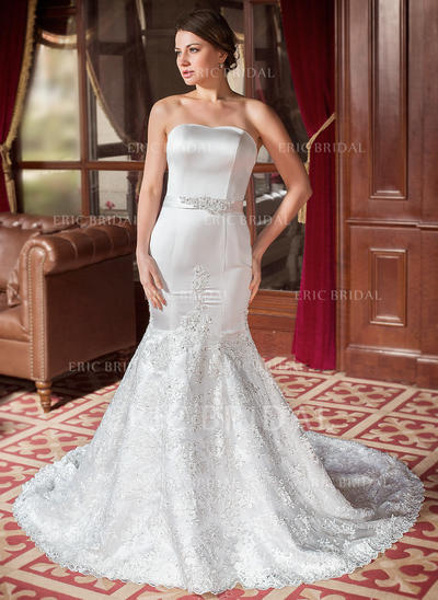 Trumpet/Mermaid Sweetheart Chapel Train Wedding Dresses With Beading Sequins Bow(s) (002000063)