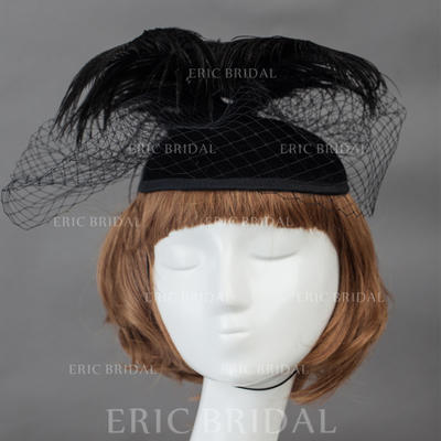 """Fascinators/Flowers & Feathers Wedding/Special Occasion Feather/Velvet 5.91""""(Approx.15cm) 7.09""""(Approx.18cm) Headpieces (042155147)"""