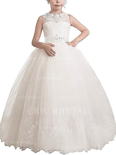 Ball Gown Scoop Neck Floor-length With Sash/Appliques Tulle Flower Girl Dresses (010211765)