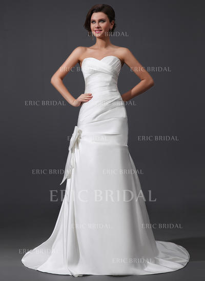 A-Line/Princess Sweetheart Court Train Wedding Dresses With Ruffle Bow(s) (002210502)