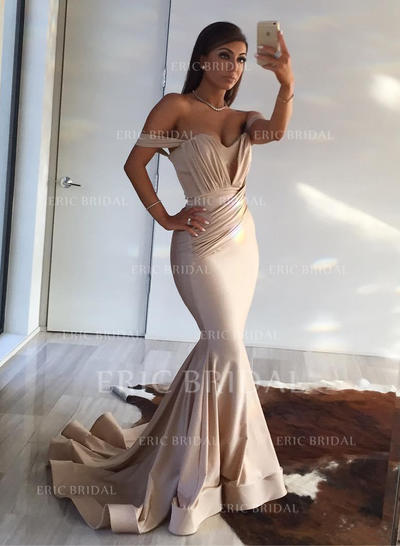Trumpet/Mermaid Off-the-Shoulder Sweep Train Evening Dresses With Ruffle (017217885)