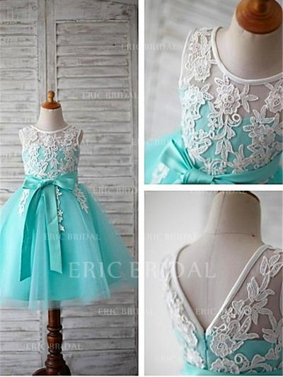 Ball Gown Scoop Neck Tea-length With Sash/Appliques/Bow(s) Tulle Flower Girl Dresses (010211740)