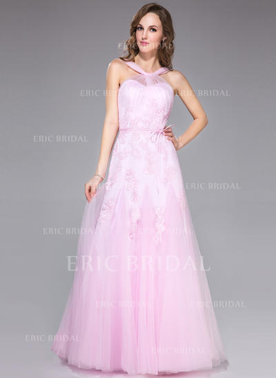 Trumpet/Mermaid Tulle Prom Dresses Ruffle Appliques Lace Bow(s) V-neck Sleeveless Floor-Length (018042415)