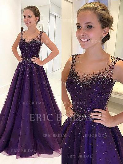 A-Line/Princess Scoop Neck Floor-Length Tulle Evening Dresses With Beading (017217173)