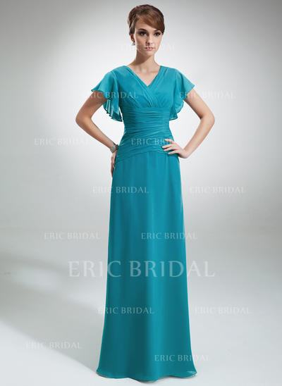 A-Line/Princess Chiffon Short Sleeves V-neck Floor-Length Zipper Up Mother of the Bride Dresses (008006033)