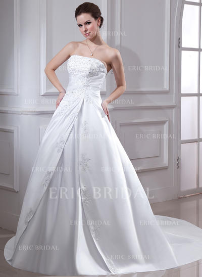 Ball-Gown Satin Sleeveless Strapless Chapel Train Wedding Dresses (002001593)