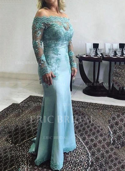 Trumpet/Mermaid Off-the-Shoulder Floor-Length Mother of the Bride Dresses With Lace Appliques Lace (008146293)