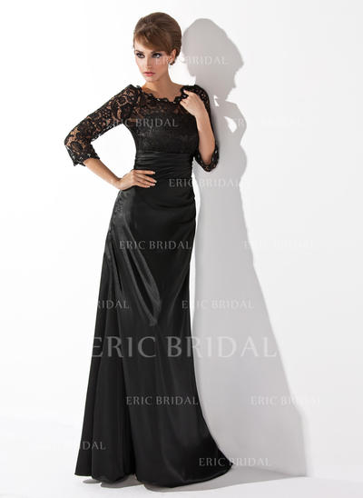 A-Line/Princess Charmeuse Lace 3/4 Sleeves Scoop Neck Floor-Length Zipper Up Mother of the Bride Dresses (008006037)