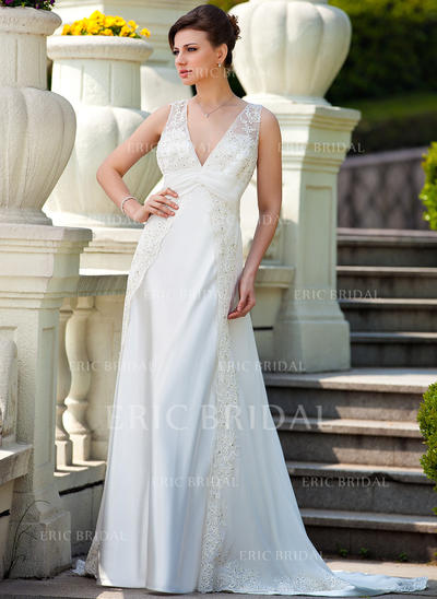 A-Line/Princess Sweetheart Court Train Wedding Dresses With Ruffle Lace Beading (002210464)