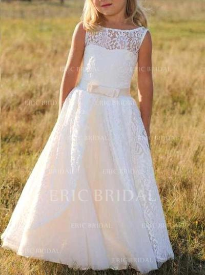 Stunning Scoop Neck A-Line/Princess Flower Girl Dresses Floor-length Lace Sleeveless (010146751)