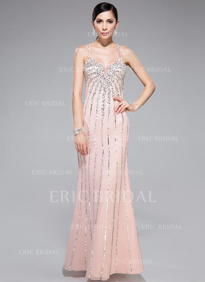 Trumpet/Mermaid Sweetheart Floor-Length Prom Dresses With Beading Sequins (018044977)