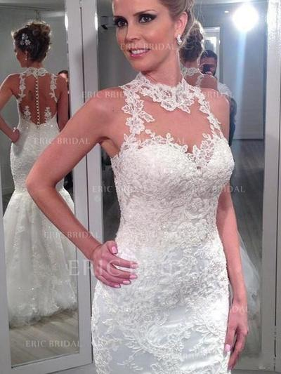 Trumpet/Mermaid Tulle Lace Sleeveless High Neck Sweep Train Wedding Dresses (002144821)