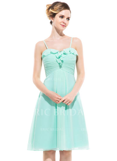 Empire Sweetheart Knee-Length Bridesmaid Dresses With Cascading Ruffles (007051417)