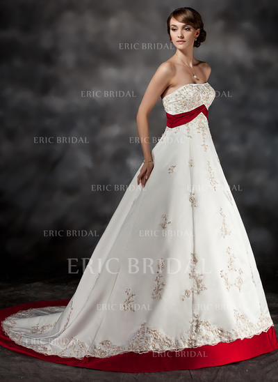 Ball-Gown Sweetheart Court Train Wedding Dresses With Sash Beading Appliques Lace (002213307)
