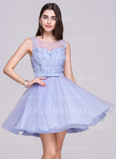 A-Line/Princess Scoop Neck Short/Mini Chiffon Tulle Homecoming Dress With Beading Flower(s) Sequins (022068060)