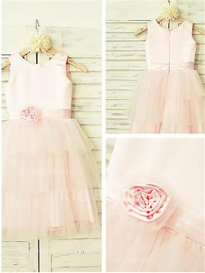 A-Line/Princess Scoop Neck Tea-length With Flower(s) Satin/Tulle Flower Girl Dresses (010211944)