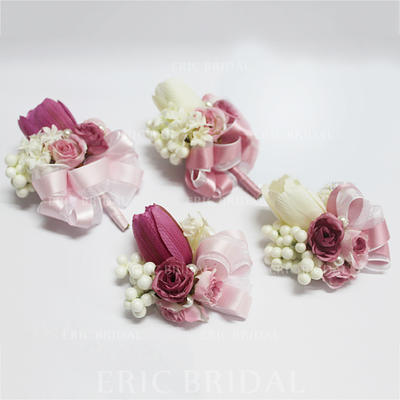 """Flower Sets Wedding/Party Artificial Silk/Imitation Pearl 3.54"""" (Approx.9cm) Sold in set of two which includes one wrist corsage and one boutonniere Wedding Flowers (123189390)"""