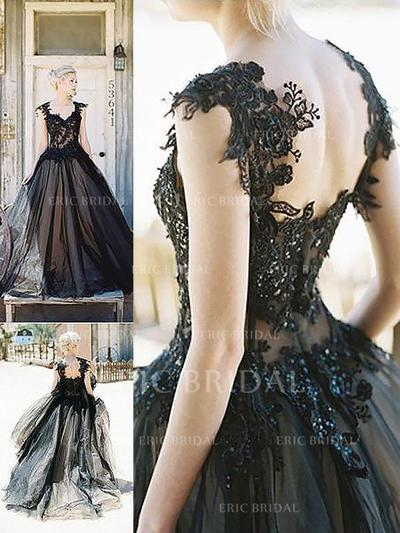 Ball-Gown Sweetheart Sweep Train Prom Dresses With Lace (018210245)