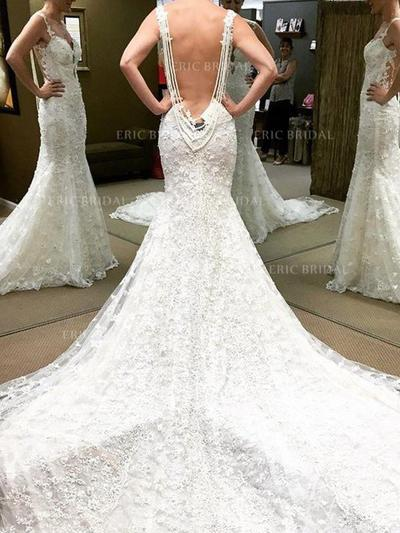 Trumpet/Mermaid Sweetheart Chapel Train Wedding Dresses With Beading (002210859)