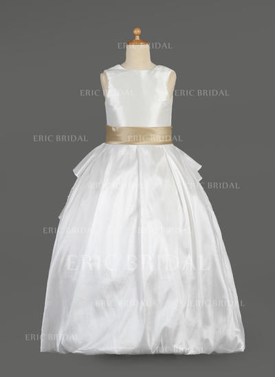 Newest Scoop Neck Ball Gown Flower Girl Dresses Floor-length Taffeta/Lace Sleeveless (010014634)