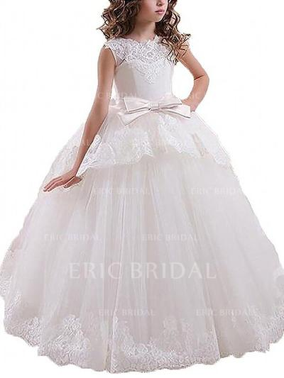 Ball Gown Scoop Neck Floor-length With Sash/Bow(s) Tulle Flower Girl Dresses (010211772)