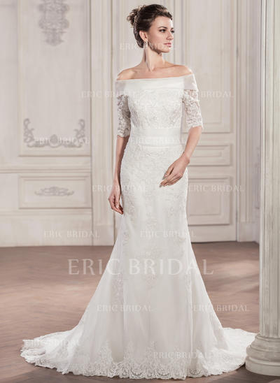 Luxurious Off-The-Shoulder Trumpet/Mermaid Wedding Dresses Chapel Train Tulle Lace (002210599)