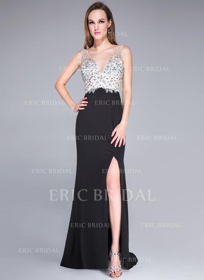 Trumpet/Mermaid V-neck Sweep Train Prom Dresses With Beading Sequins Split Front (018042784)