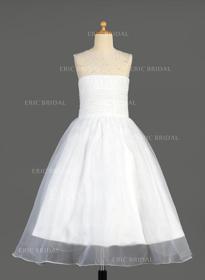 Glamorous Scoop Neck A-Line/Princess Flower Girl Dresses Ankle-length Organza Sleeveless (010014640)