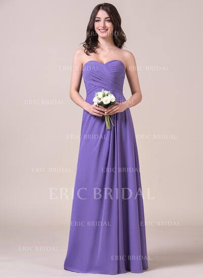 Chiffon Floor-length Sweetheart Side Ruched Bridesmaid Dress  (007058123)