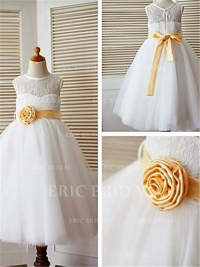 A-Line/Princess Scoop Neck Ankle-length With Sash/Flower(s) Tulle/Lace Flower Girl Dresses (010211826)