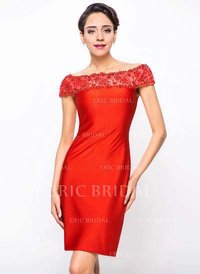 Sheath/Column Off-the-Shoulder Knee-Length Cocktail Dresses With Lace Beading Sequins (016211119)
