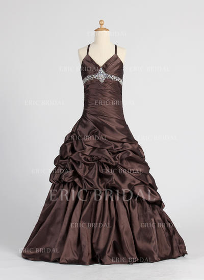 Elegant V-neck A-Line/Princess Flower Girl Dresses Floor-length Taffeta Sleeveless (010005885)