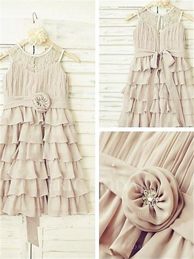 A-Line/Princess Scoop Neck Ankle-length With Ruffles/Flower(s) Chiffon Flower Girl Dresses (010211953)
