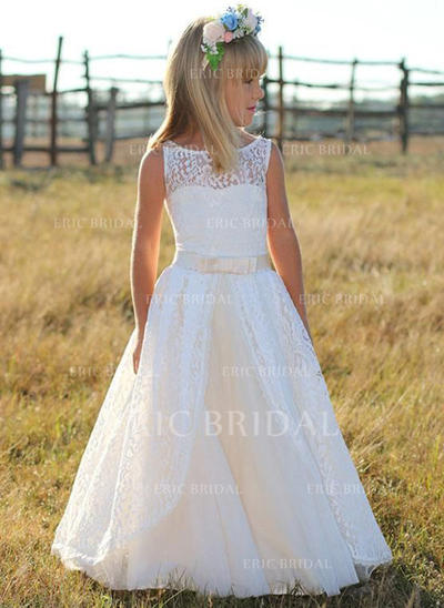 Elegant Scoop Neck A-Line/Princess Flower Girl Dresses Floor-length Tulle/Lace Sleeveless (010210964)