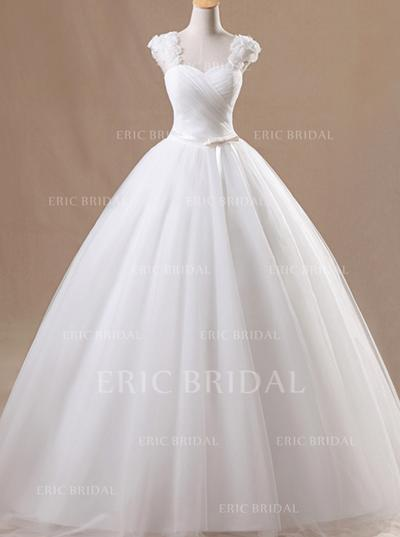 Ball-Gown Organza Sleeveless Square Floor-Length Wedding Dresses (002147827)