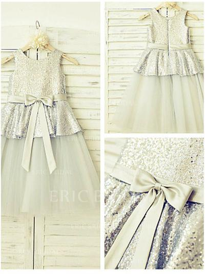 A-Line/Princess Scoop Neck Tea-length With Sash Tulle/Sequined Flower Girl Dresses (010211984)