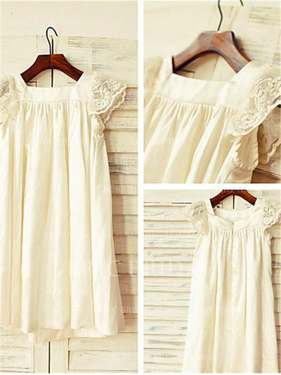 A-Line/Princess Square Neckline Tea-length With Lace Chiffon Flower Girl Dresses (010211972)