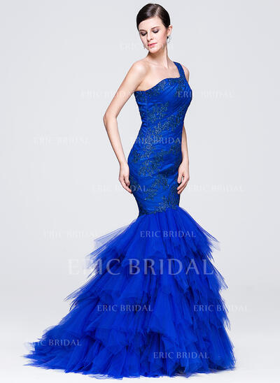 Trumpet/Mermaid One-Shoulder Sweep Train Tulle Evening Dress With Ruffle Appliques Lace (017071567)
