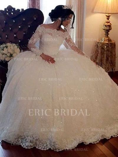 Ball-Gown Off-The-Shoulder Floor-Length Wedding Dresses With Beading (002218048)