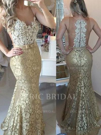 Trumpet/Mermaid Scoop Neck Sweep Train Prom Dresses With Sash Beading Appliques Lace (018212220)