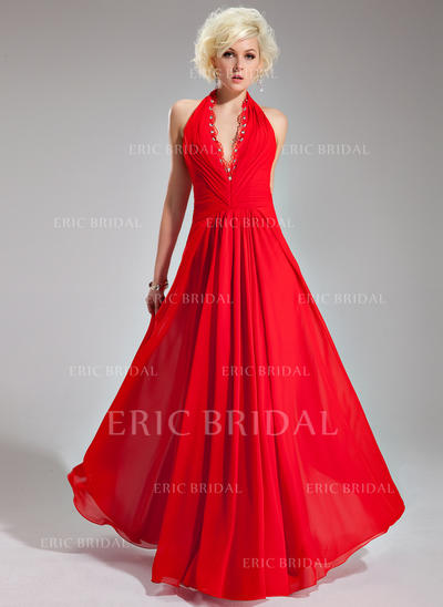 A-Line/Princess Halter Floor-Length Evening Dresses With Ruffle Lace Beading (017019761)
