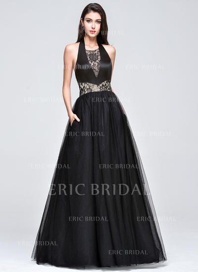 Ball-Gown Tulle Prom Dresses Lace Halter Sleeveless Floor-Length (018210661)