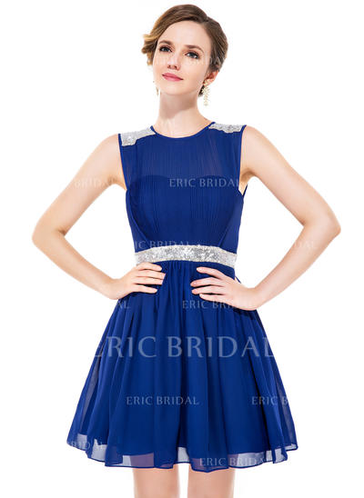 A-Line/Princess Scoop Neck Short/Mini Chiffon Homecoming Dress With Ruffle Beading Sequins (022051142)