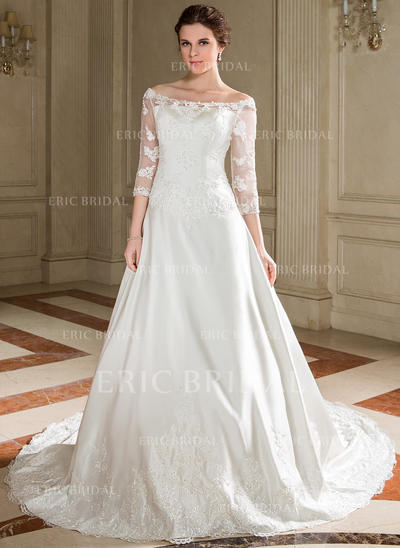 A-Line/Princess Scoop Chapel Train Wedding Dresses With Lace Beading Sequins (002000095)
