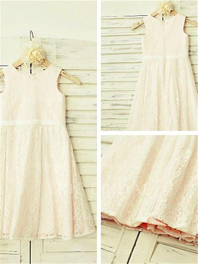 A-Line/Princess Scoop Neck Ankle-length With Pleated Lace Flower Girl Dresses (010212044)