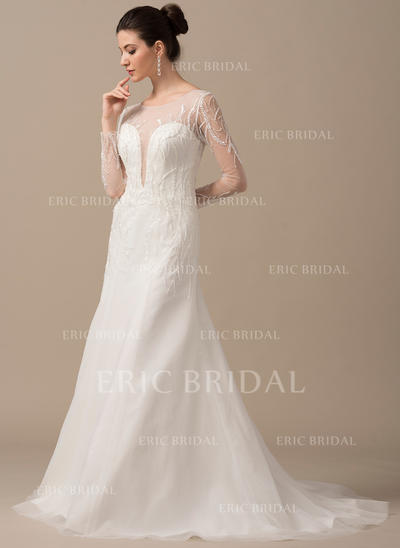 Chic Scoop A-Line/Princess Wedding Dresses Sweep Train Tulle Long Sleeves (002210632)