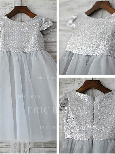 A-Line/Princess Scoop Neck Tea-length With Pleated Tulle/Sequined Flower Girl Dresses (010211969)