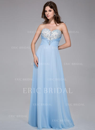 A-Line/Princess Sweetheart Floor-Length Prom Dresses With Ruffle Beading (018025518)