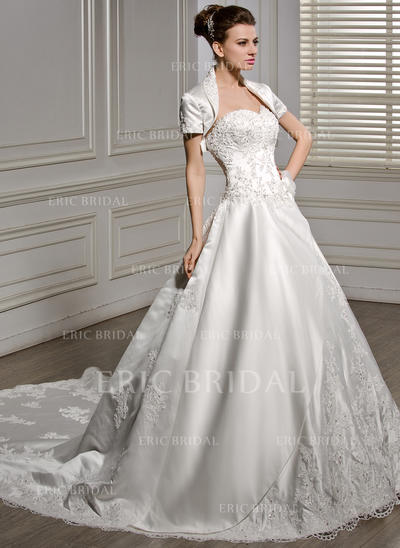 Ball-Gown Sweetheart Cathedral Train Wedding Dresses With Beading Appliques Lace Flower(s) Sequins (002056586)